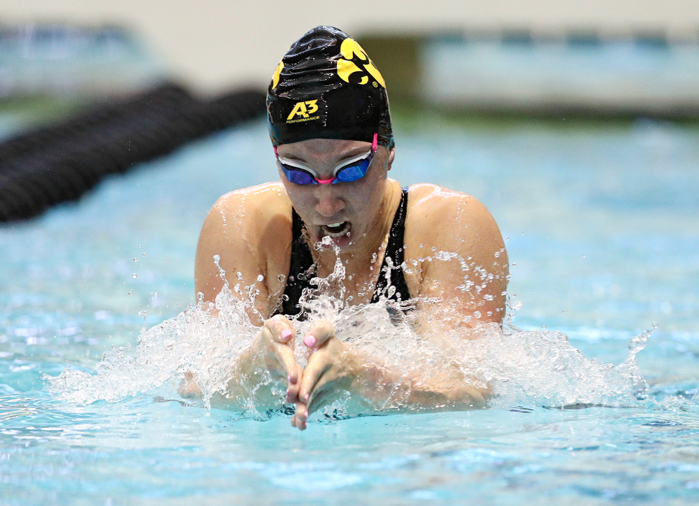 Iowa's Sage Ohlensehlen swims the women's 100 yard breaststroke preliminary event during the 2020 Women's Big Ten Swimming and Diving Championships at the Campus Recreation and Wellness Center in Iowa City on Friday, February 21, 2020. (Stephen Mally/hawkeyesports.com)