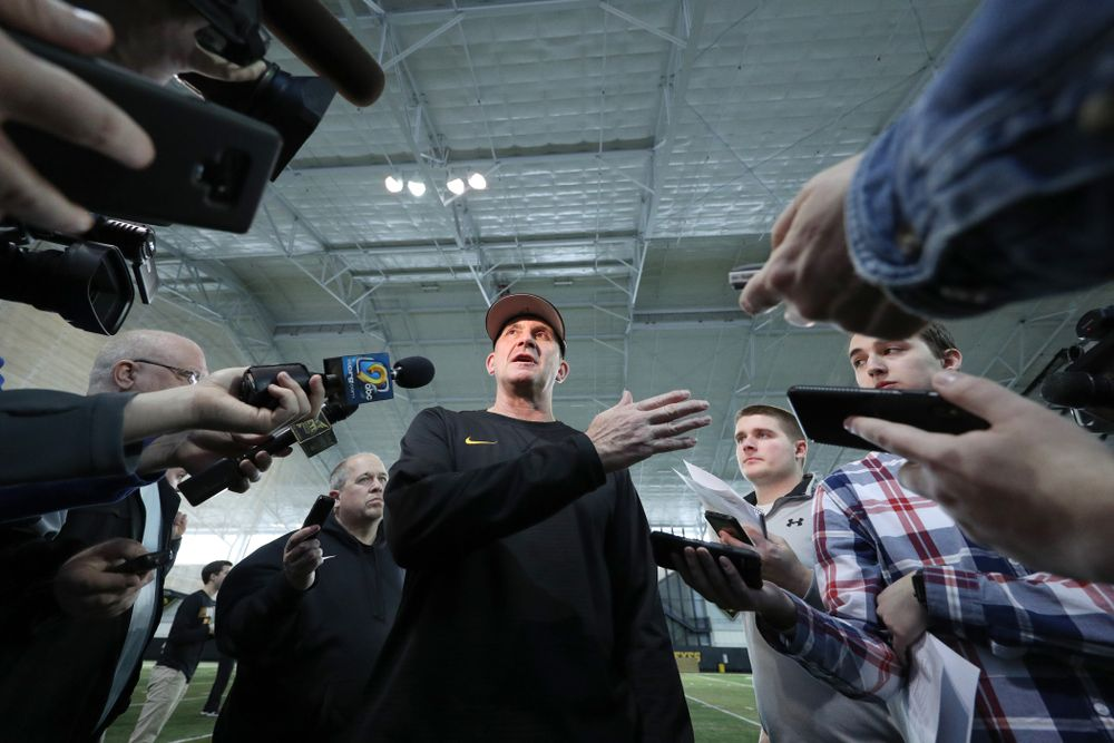 Iowa Hawkeyes head coach Rick Heller answers questions from reporters during their annual media day Thursday, February 6, 2020 at the Indoor Practice Facility. (Brian Ray/hawkeyesports.com)