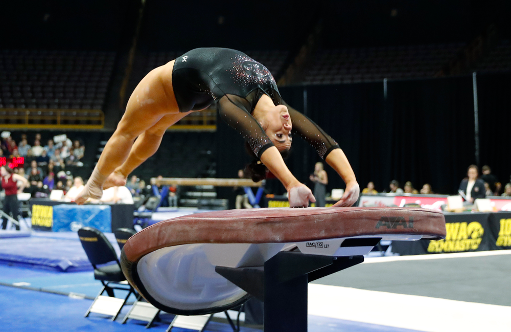 Nikki Youd competes on the vault