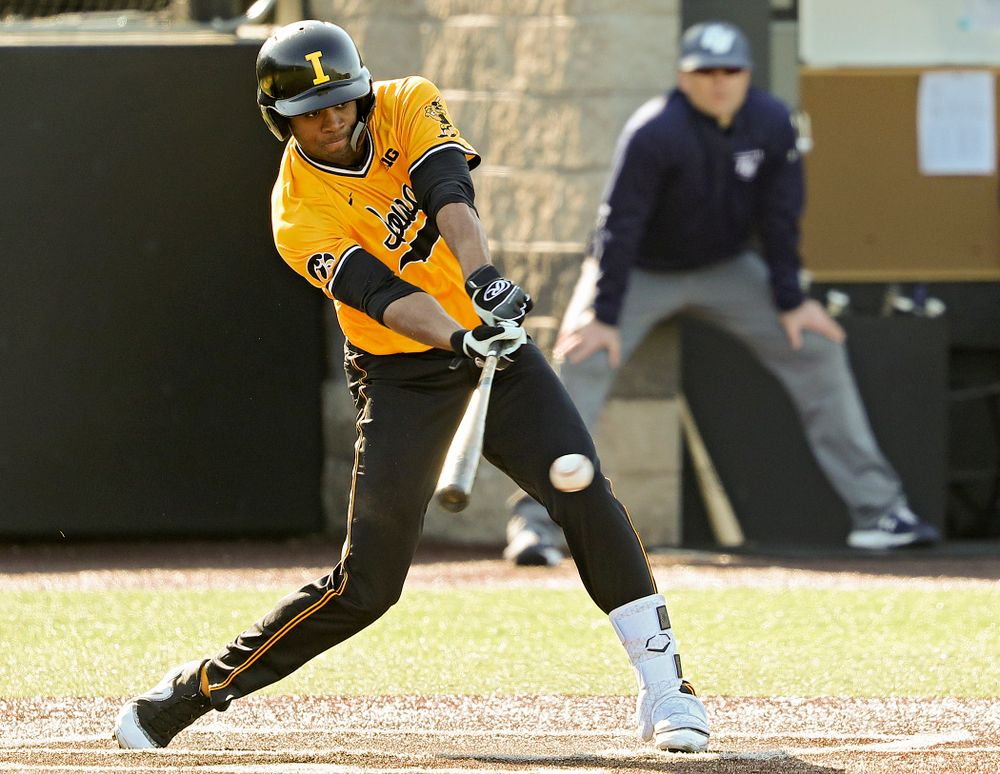 Iowa Hawkeyes third baseman Lorenzo Elion (1) bats during the second inning of their game at Duane Banks Field in Iowa City on Tuesday, Apr. 2, 2019. (Stephen Mally/hawkeyesports.com)