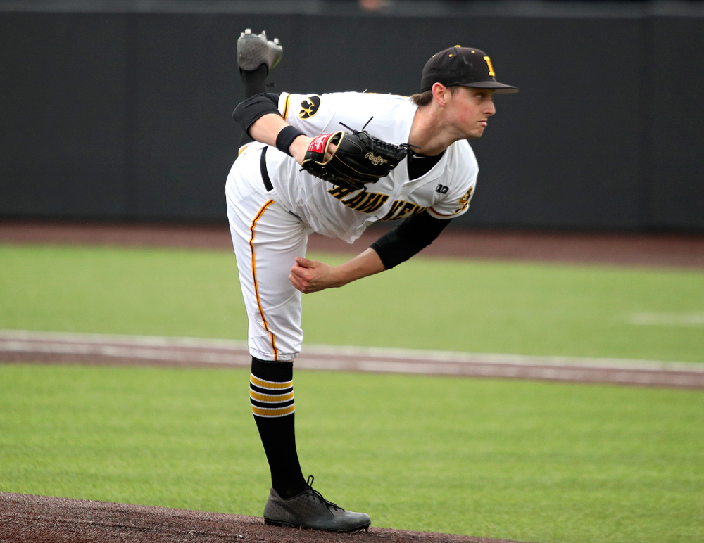 Iowa pitcher Trenton Wallace (38) delivers to the plate during the fourth inning of their college baseball game at Duane Banks Field in Iowa City on Wednesday, March 11, 2020. (Stephen Mally/hawkeyesports.com)