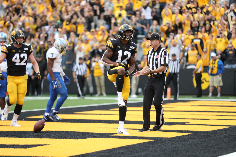 Iowa Hawkeyes wide receiver Brandon Smith (12) celebrates after scoring against Middle Tennessee State Saturday, September 28, 2019 at Kinnick Stadium. (Max Allen/hawkeyesports.com)
