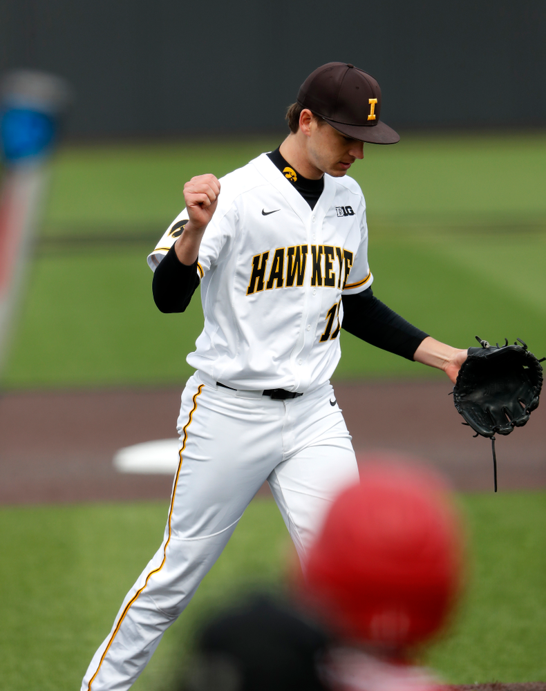 Iowa Hawkeyes pitcher Nick Nelsen (12) during a double header against the Indiana Hoosiers Friday, March 23, 2018 at Duane Banks Field. (Brian Ray/hawkeyesports.com)