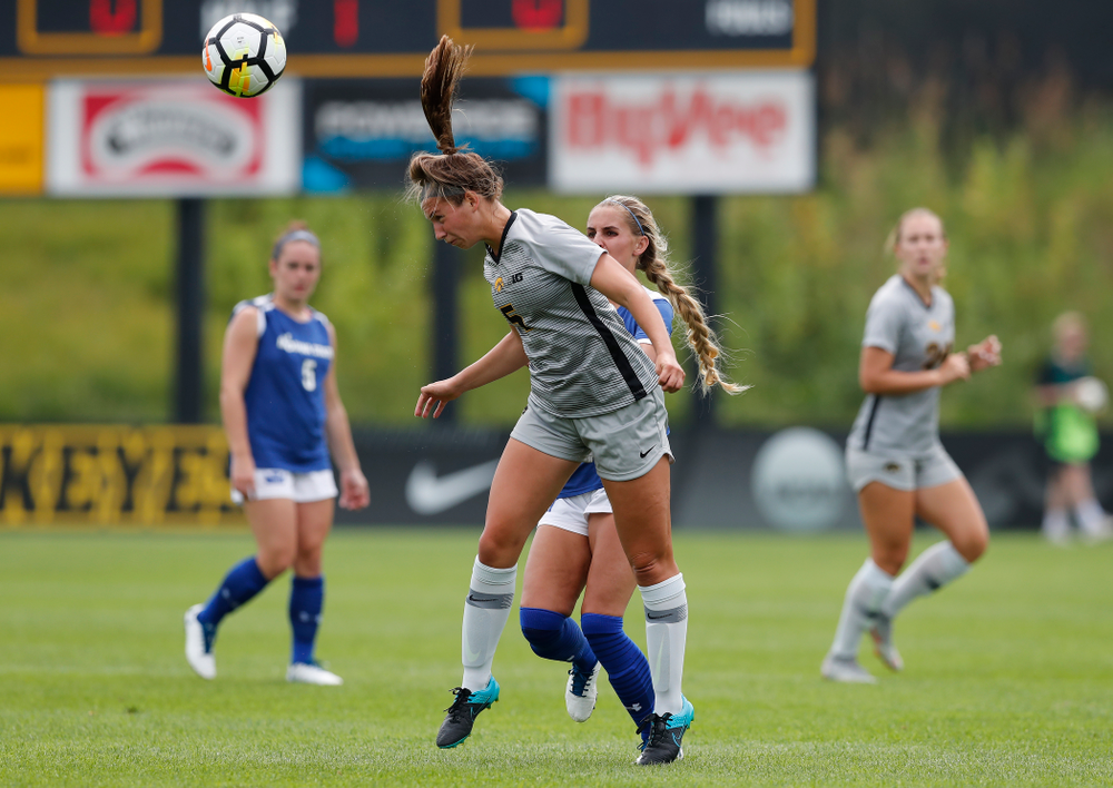 Iowa Hawkeyes Riley Whitaker (5) against Indiana State Sunday, August 26, 2018 at the Iowa Soccer Complex. (Brian Ray/hawkeyesports.com)