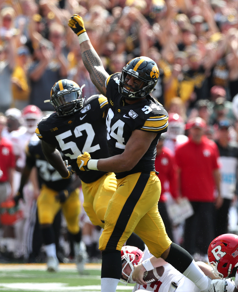 Iowa Hawkeyes defensive end A.J. Epenesa (94) celebrates a sack against the Rutgers Scarlet Knights Saturday, September 7, 2019 at Kinnick Stadium. (Brian Ray/hawkeyesports.com)