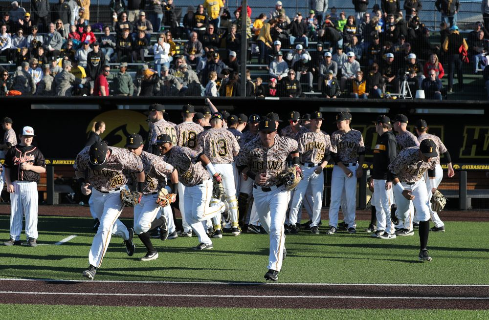 The Iowa Hawkeyes against the Nebraska Cornhuskers on Military Appreciation Night Friday, April 19, 2019 at Duane Banks Field. (Brian Ray/hawkeyesports.com)