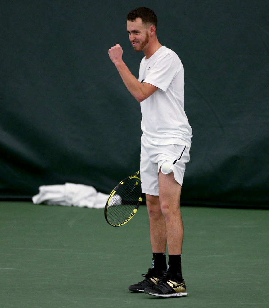 Iowa's Karem Allaf against Cornell Sunday, March 8, 2020 at the Hawkeye Tennis and Recreation Center. (Brian Ray/hawkeyesports.com)