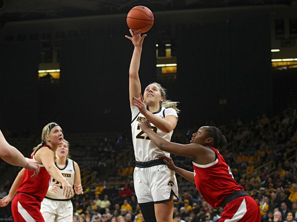 Iowa Hawkeyes guard Kathleen Doyle (22) puts up a shot during the second quarter of the game at Carver-Hawkeye Arena in Iowa City on Thursday, February 6, 2020. (Stephen Mally/hawkeyesports.com)