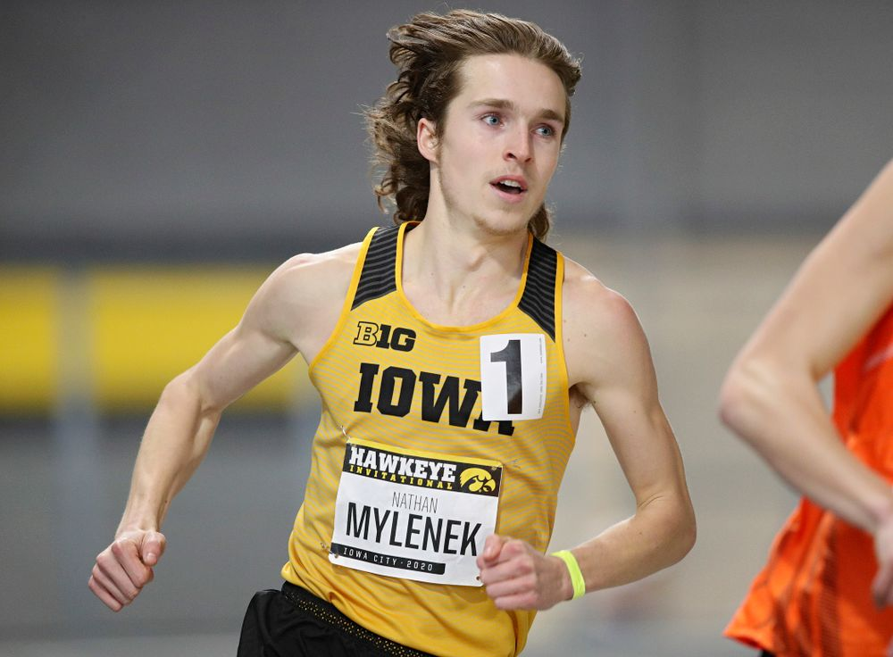 Iowa's Nathan Mylenek runs the men's 800 meter run event during the Hawkeye Invitational at the Recreation Building in Iowa City on Saturday, January 11, 2020. (Stephen Mally/hawkeyesports.com)