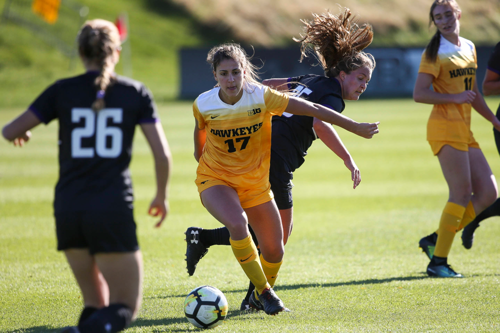 Iowa Hawkeyes defender Hannah Drkulec (17) dribbles the ball during a game against Northwestern at the Iowa Soccer Complex on October 21, 2018. (Tork Mason/hawkeyesports.com)
