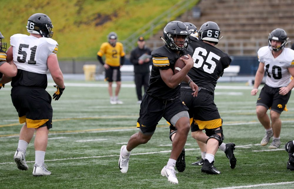 Iowa Hawkeyes running back Tyler Goodson (15) during practice Monday, December 23, 2019 at Mesa College in San Diego. (Brian Ray/hawkeyesports.com)