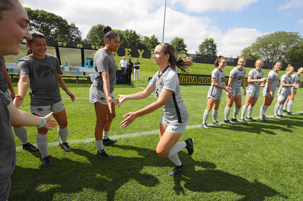 Iowa defender Riley Whitaker (5) takes the field for their match at the Iowa Soccer Complex in Iowa City on Sunday, Sep 1, 2019. (Stephen Mally/hawkeyesports.com)