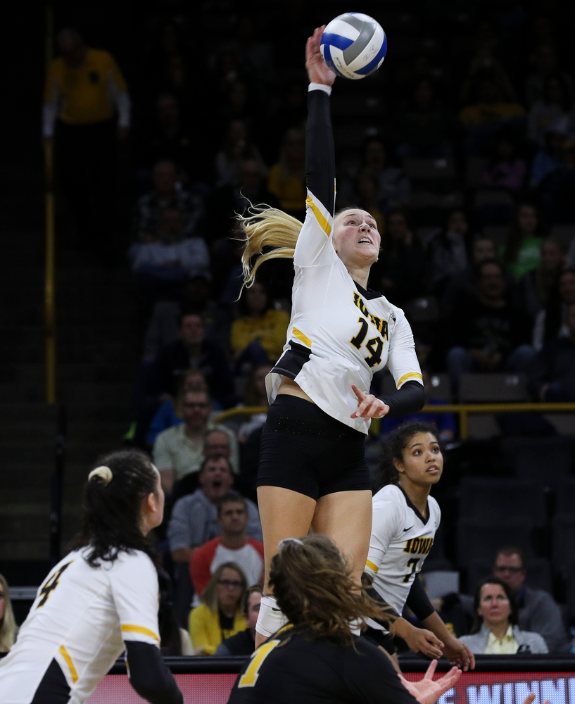 Iowa Hawkeyes outside hitter Cali Hoye (14) spikes the ball during a match against Penn State at Carver-Hawkeye Arena on November 3, 2018. (Tork Mason/hawkeyesports.com)