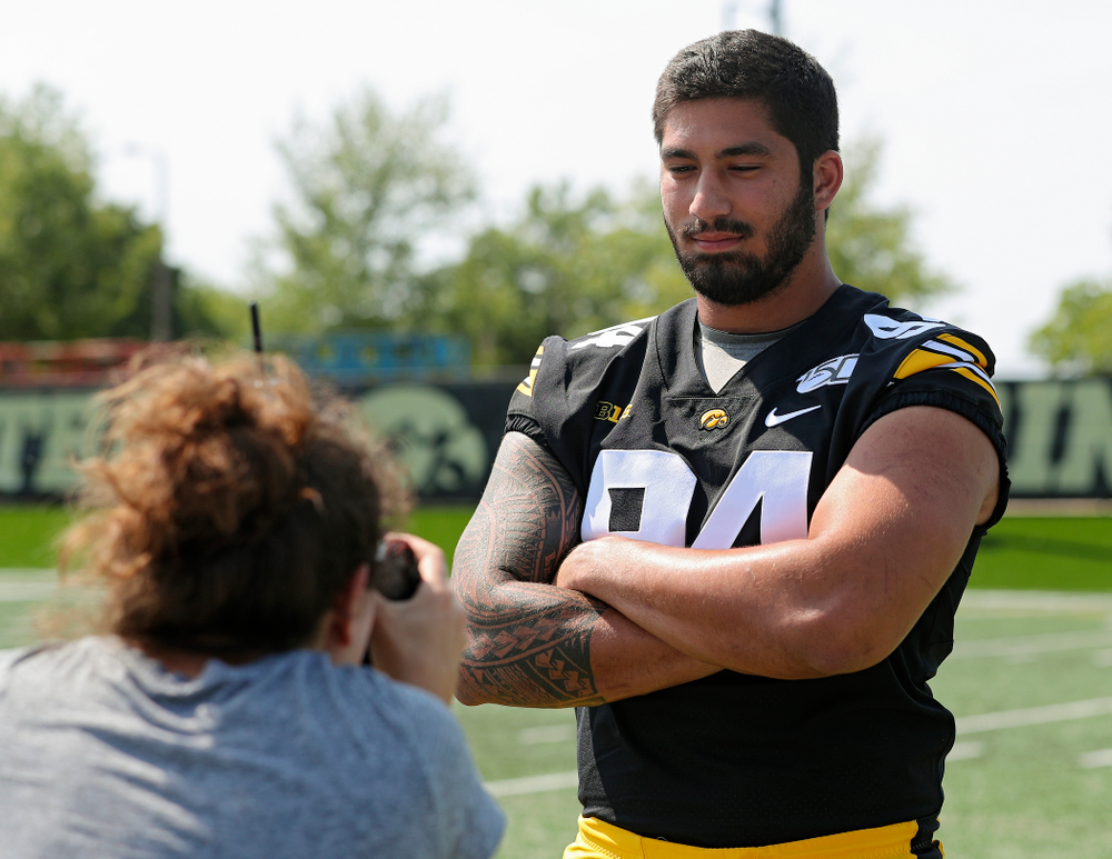 Iowa Hawkeyes defensive end A.J. Epenesa (94) poses for a picture during Iowa Football Media Day at the Hansen Football Performance Center in Iowa City on Friday, Aug 9, 2019. (Stephen Mally/hawkeyesports.com)