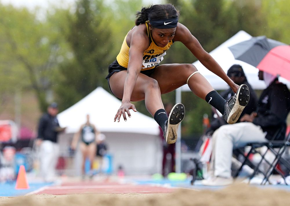 Iowa's Amanda Carty jumps in the women's triple jump event on the third day of the Big Ten Outdoor Track and Field Championships at Francis X. Cretzmeyer Track in Iowa City on Sunday, May. 12, 2019. (Stephen Mally/hawkeyesports.com)