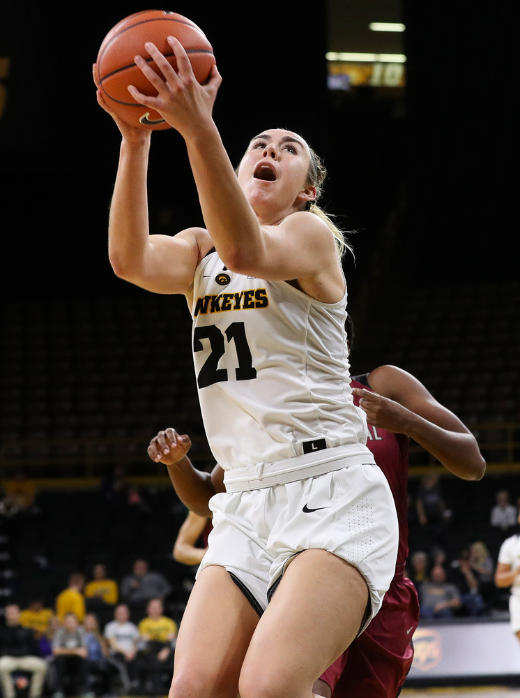 Iowa Hawkeyes forward Hannah Stewart (21) goes up for a shot during a game against North Carolina Central at Carver-Hawkeye Arena on November 17, 2018. (Tork Mason/hawkeyesports.com)