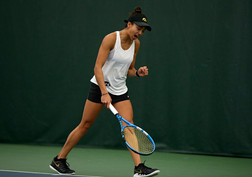Iowa's Michelle Bacalla celebrates a point during her singles match at the Hawkeye Tennis and Recreation Complex in Iowa City on Sunday, February 23, 2020. (Stephen Mally/hawkeyesports.com)