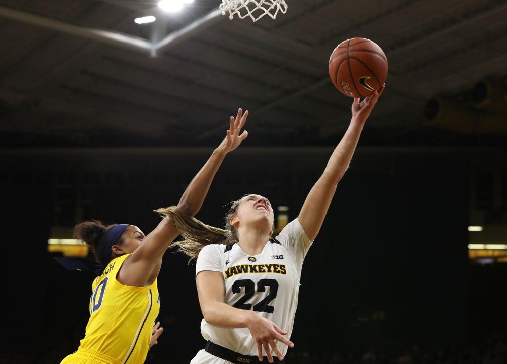 Iowa Hawkeyes guard Kathleen Doyle (22) against the Michigan Wolverines Thursday, January 17, 2019 at Carver-Hawkeye Arena. (Brian Ray/hawkeyesports.com)