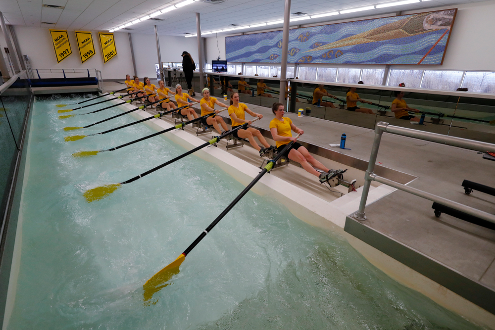 Members of the Iowa Rowing Team workout in the indoor rowing tank at the P. Sue Beckwith, M.D., Boathouse Monday, February 12, 2018 in Iowa City. (Brian Ray/hawkeyesports.com)
