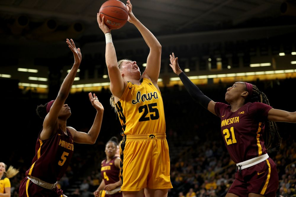 Iowa Hawkeyes forward/center Monika Czinano (25) against the Minnesota Golden Gophers Thursday, February 27, 2020 at Carver-Hawkeye Arena. (Brian Ray/hawkeyesports.com)