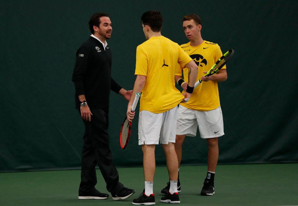 Head Coach Ross Wilson, Jonas Larson and Kareem Allaf