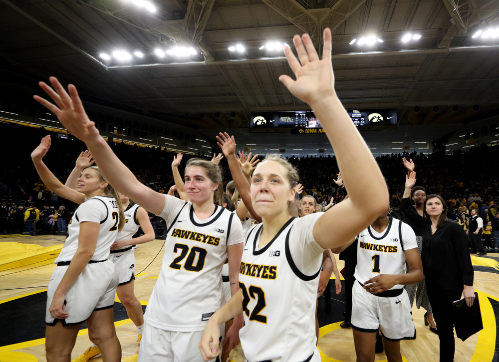 Iowa Hawkeyes guard Kate Martin (20) and guard Kathleen Doyle (22) against Penn State Saturday, February 22, 2020 at Carver-Hawkeye Arena. (Brian Ray/hawkeyesports.com)