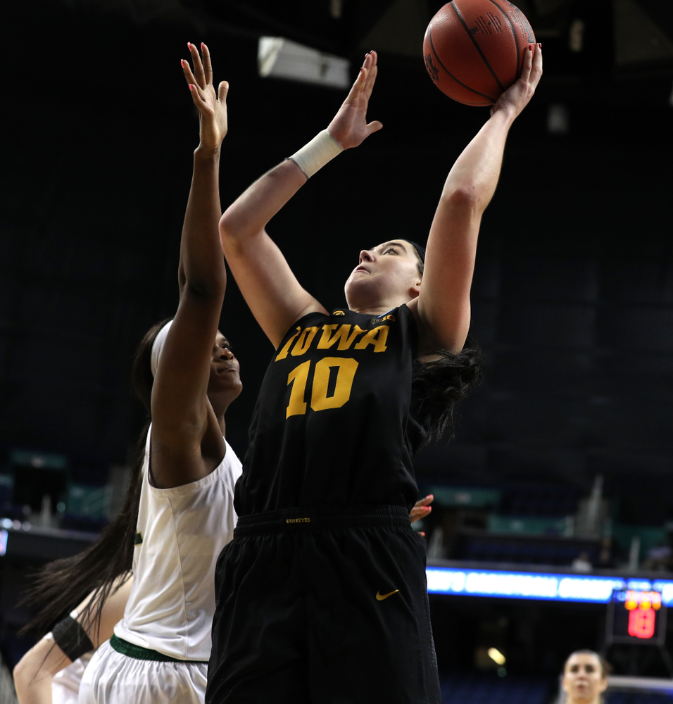 Iowa Hawkeyes forward Megan Gustafson (10) against the Baylor Lady Bears in the regional final of the 2019 NCAA Women's College Basketball Tournament Monday, April 1, 2019 at Greensboro Coliseum in Greensboro, NC.(Brian Ray/hawkeyesports.com)