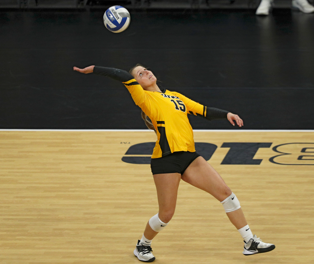 Iowa's Maddie Slagle (15) reaches a ball during the third set of their match at Carver-Hawkeye Arena in Iowa City on Friday, Nov 29, 2019. (Stephen Mally/hawkeyesports.com)
