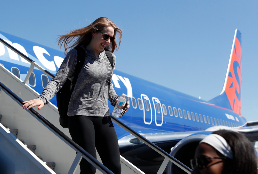 Iowa Hawkeyes guard Kathleen Doyle (22) as they arrive in Los Angeles for the first round of the 2018 NCAA Tournament Thursday, March 15, 2018 at LAX. (Brian Ray/hawkeyesports.com)