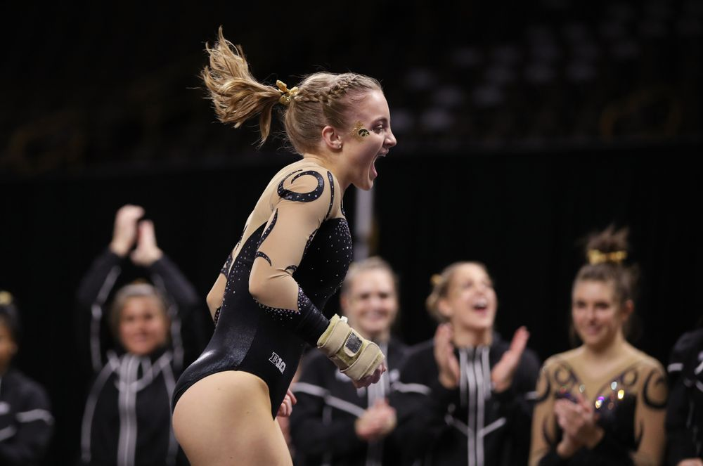 Iowa's Lauren Guerin competes on the floor during their meet against Southeast Missouri State Friday, January 11, 2019 at Carver-Hawkeye Arena. (Brian Ray/hawkeyesports.com)