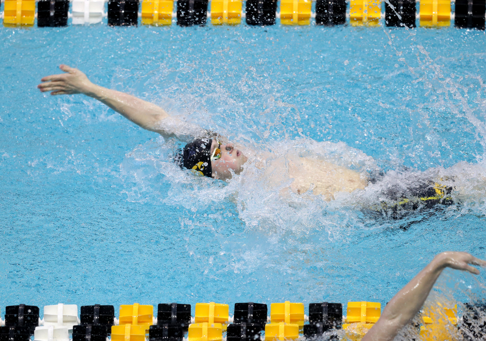 Iowa's John Colin competes in the 100-yard backstroke on the third day at the 2019 Big Ten Swimming and Diving Championships Thursday, February 28, 2019 at the Campus Wellness and Recreation Center. (Brian Ray/hawkeyesports.com)