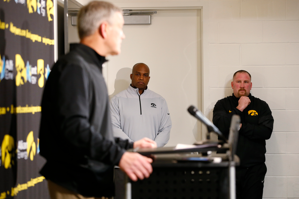 Head Coach Kirk Ferentz, Kelton Copeland, Tim Polasek