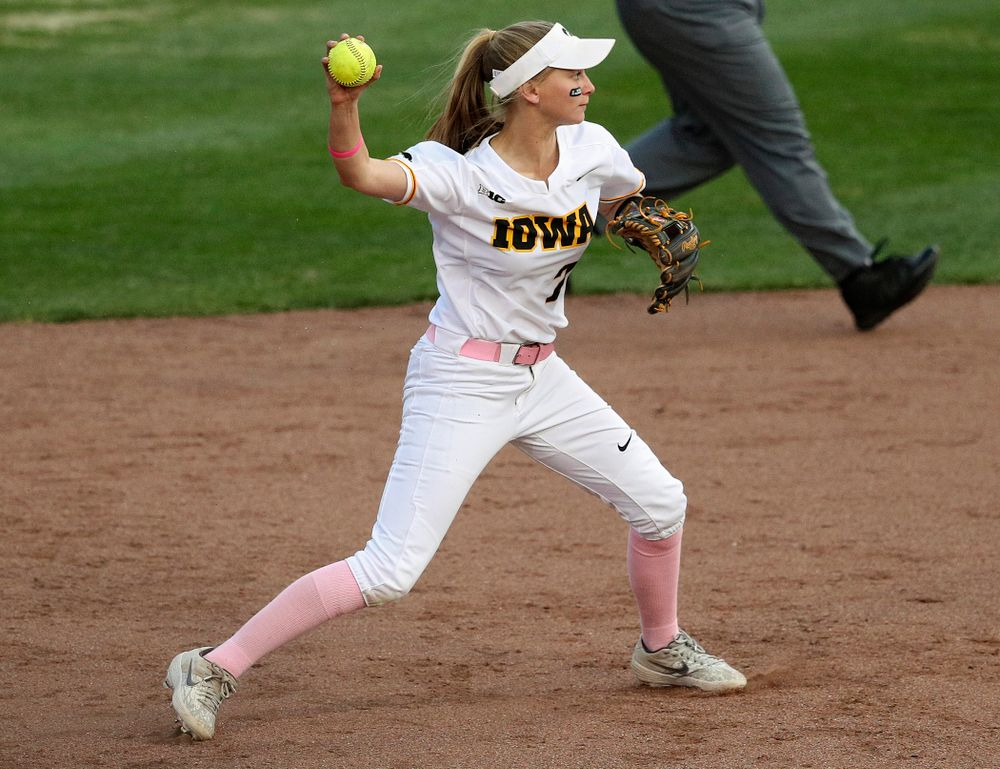 Iowa second baseman Aralee Bogar (2) throws to first for an out during the fourth inning of their game against Iowa State at Pearl Field in Iowa City on Tuesday, Apr. 9, 2019. (Stephen Mally/hawkeyesports.com)