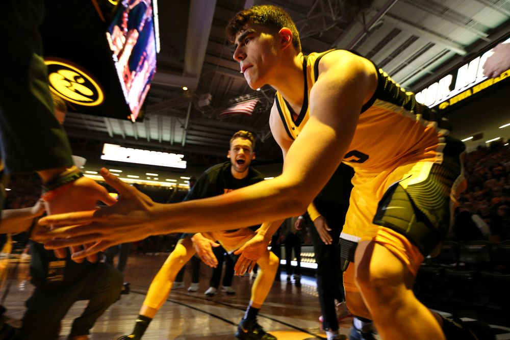 Iowa Hawkeyes center Luka Garza (55) is introduced during introductions during the Iowa men's basketball game vs Rutgers on Wednesday, January 22, 2020 at Carver-Hawkeye Arena. (Lily Smith/hawkeyesports.com)