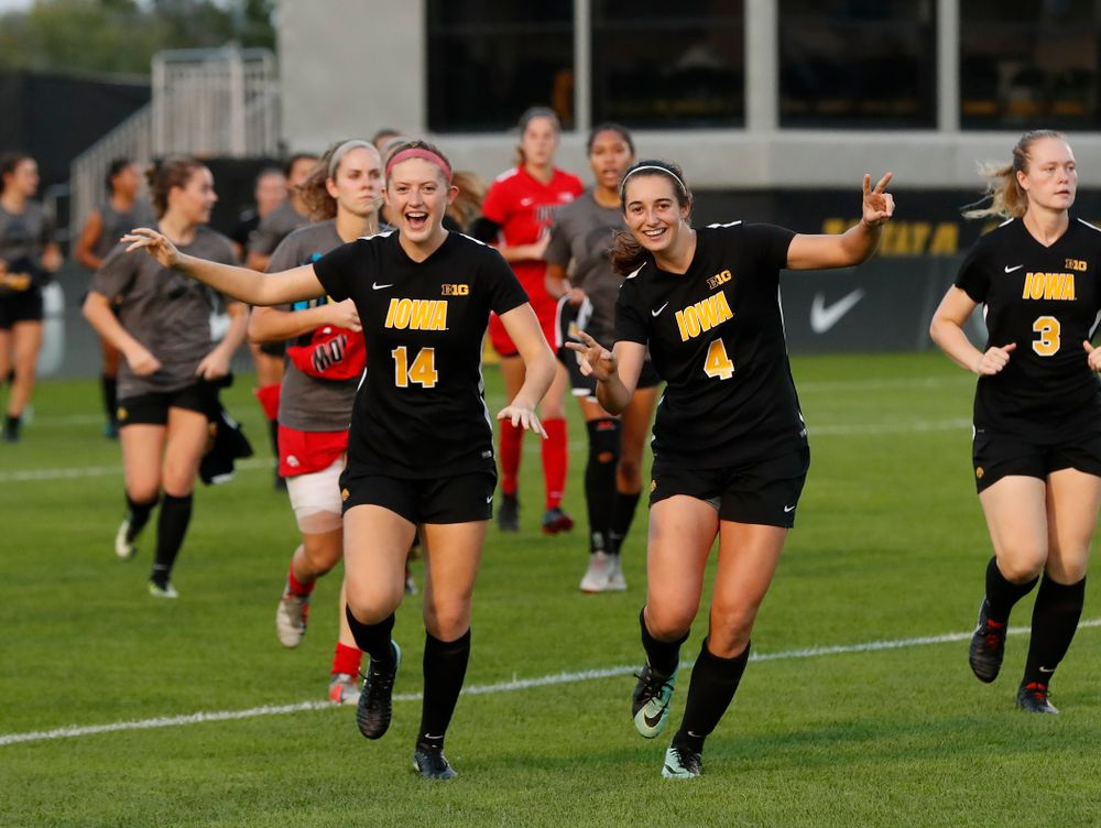 Iowa Hawkeyes Leah Moss (14) and  Kaleigh Haus (4) against the Purdue Boilermakers Thursday, September 20, 2018 at the Iowa Soccer Complex. (Brian Ray/hawkeyesports.com)