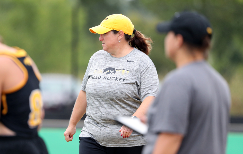 Iowa Hawkeyes head coach Lisa Cellucci during a 2-1 victory against the Ohio State Buckeyes Friday, September 27, 2019 at Grant Field. (Brian Ray/hawkeyesports.com)