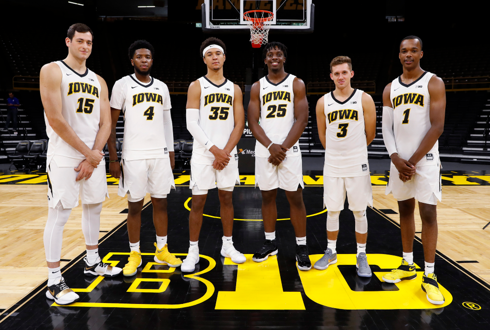Iowa Hawkeyes juniors Ryan Kriener, Isaiah Moss, Cordell Pemsl, Tyler Cook, Jordan Bohannon, and Maishe Dailey during the team's annual media day Monday, October 8, 2018 at Carver-Hawkeye Arena. (Brian Ray/hawkeyesports.com)