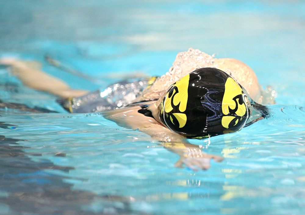 Iowa's Erin Lang swims the women's 500 yard freestyle preliminary event during the 2020 Women's Big Ten Swimming and Diving Championships at the Campus Recreation and Wellness Center in Iowa City on Thursday, February 20, 2020. (Stephen Mally/hawkeyesports.com)