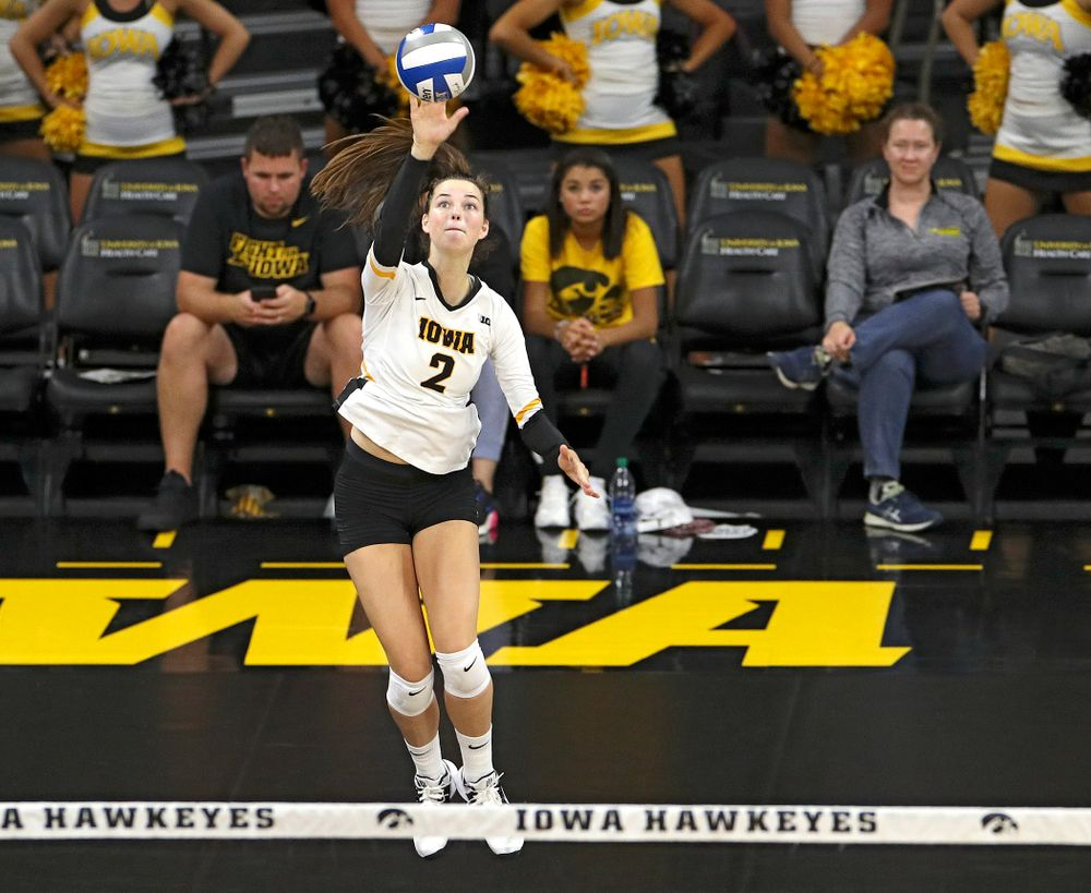 Iowa's Courtney Buzzerio (2) serves the ball during the second set of their Big Ten/Pac-12 Challenge match against Colorado at Carver-Hawkeye Arena in Iowa City on Friday, Sep 6, 2019. (Stephen Mally/hawkeyesports.com)
