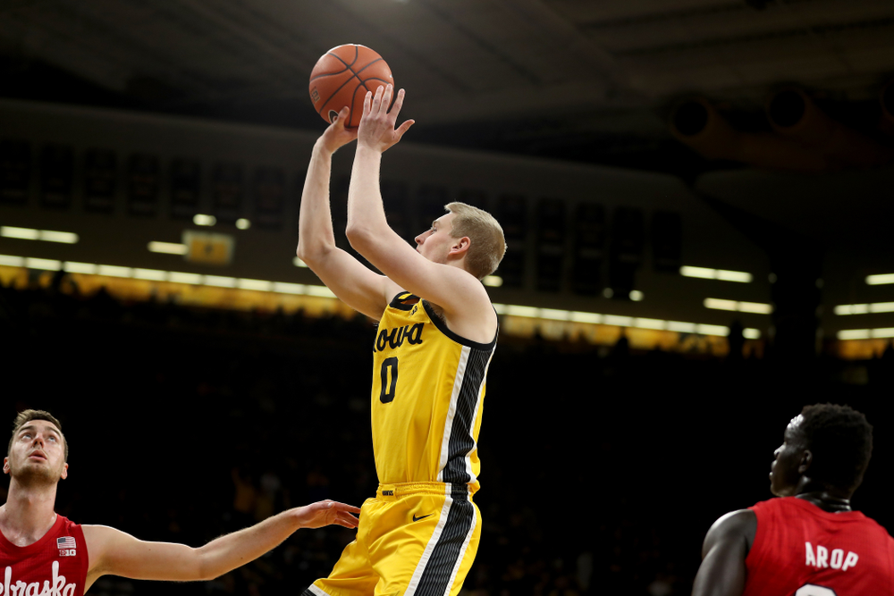 Iowa Hawkeyes forward Michael Baer (0) against the Nebraska Cornhuskers Saturday, February 8, 2020 at Carver-Hawkeye Arena. (Brian Ray/hawkeyesports.com)