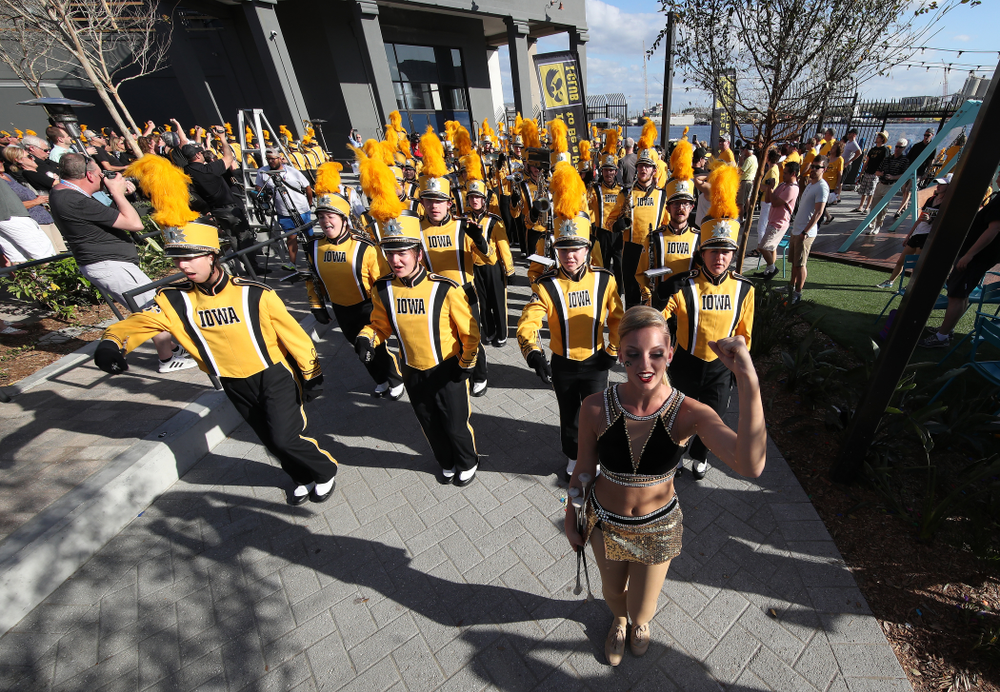 The Hawkeye Marching Band at Hawkeye Huddle Monday, December 31, 2018 at Sparkman Wharf in Tampa, FL. (Brian Ray/hawkeyesports.com)