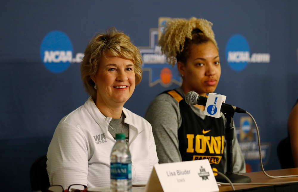 Iowa Hawkeyes head coach Lisa Bluder  answers questions from the media during a news conference Friday, March 16, 2018 at Pauley Pavilion on the campus of UCLA. (Brian Ray/hawkeyesports.com)