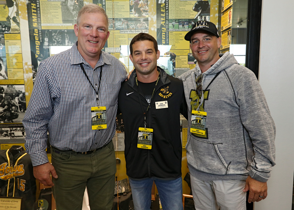 2019 University of Iowa Athletics Hall of Fame inductee Eric Juergens with his friends at the University of Iowa Athletics Hall of Fame in Iowa City on Friday, Aug 30, 2019. (Stephen Mally/hawkeyesports.com)