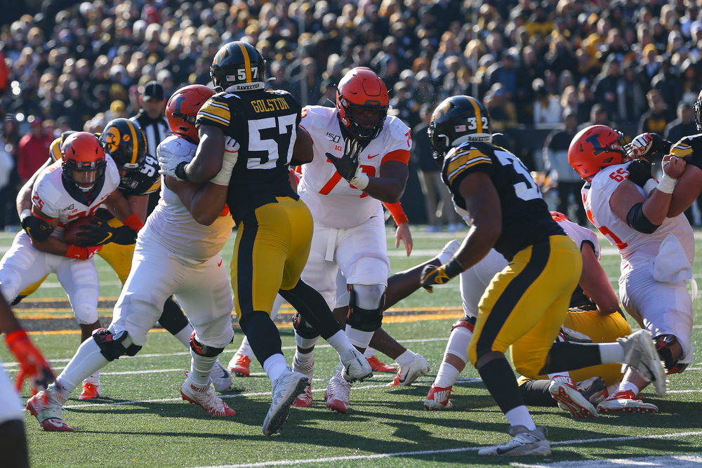 Iowa Hawkeyes defensive end Chauncey Golston (57) during Iowa football vs Illinois on Saturday, November 23, 2019 at Kinnick Stadium. (Lily Smith/hawkeyesports.com)
