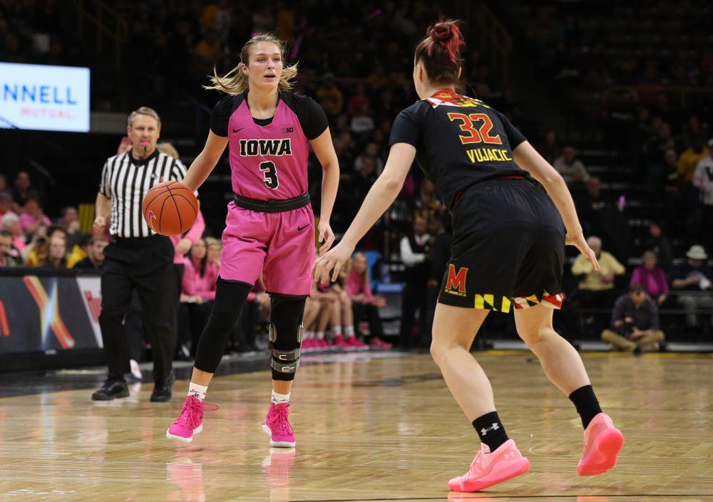 Iowa Hawkeyes guard Makenzie Meyer (3) against the seventh ranked Maryland Terrapins Sunday, February 17, 2019 at Carver-Hawkeye Arena. (Brian Ray/hawkeyesports.com)