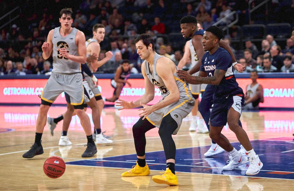 Iowa Hawkeyes forward Ryan Kriener (15) against UConn in the Championship game of the 2K Empire Classic Friday, November 16, 2018 at Madison Square Garden in New York City. (Duncan H.Williams/Freelance)