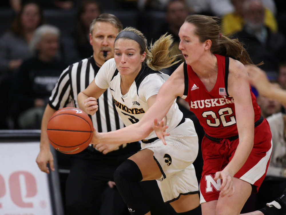 Iowa Hawkeyes guard Makenzie Meyer (3) against the Nebraska Cornhuskers Thursday, January 3, 2019 at Carver-Hawkeye Arena. (Brian Ray/hawkeyesports.com)