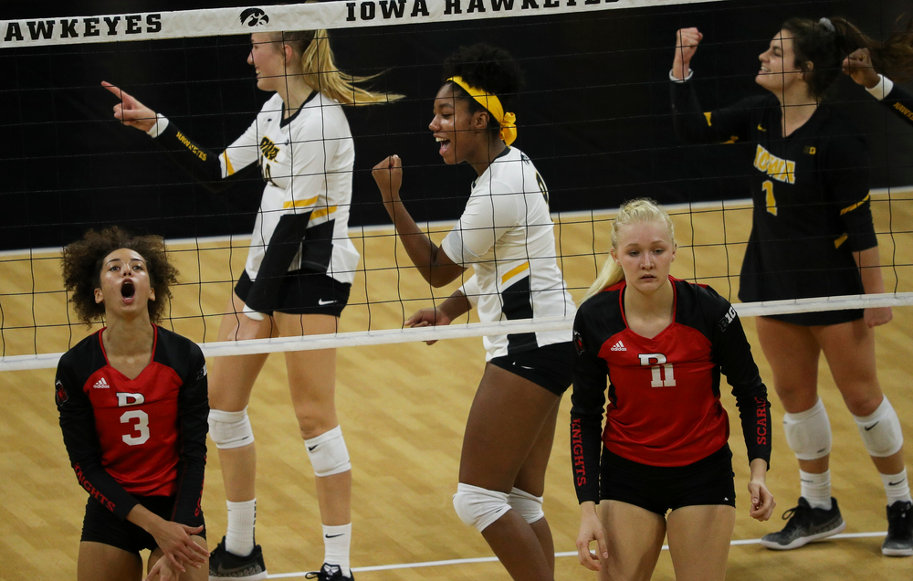 Iowa Hawkeyes middle blocker Amiya Jones (9) celebrates after winning a point during a match against Rutgers at Carver-Hawkeye Arena on November 2, 2018. (Tork Mason/hawkeyesports.com)