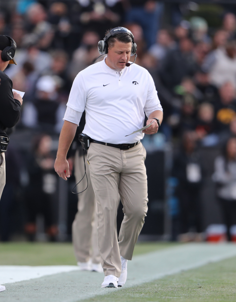 Iowa Hawkeyes offensive coordinator Brian Ferentz against the Purdue Boilermakers Saturday, November 3, 2018 Ross Ade Stadium in West Lafayette, Ind. (Brian Ray/hawkeyesports.com)