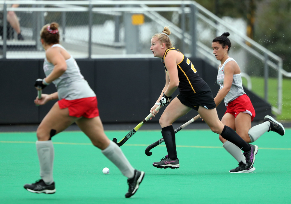 Iowa Hawkeyes defenseman Ellie Flynn (22) during a 2-1 victory against the Ohio State Buckeyes Friday, September 27, 2019 at Grant Field. (Brian Ray/hawkeyesports.com)